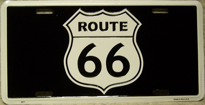 Route 66 Shield Aluminum License Plate America City and Landmarks thumbnail