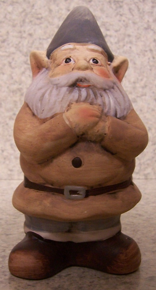 """Gnome In Garden: Garden Accent Large Tan Gnome NEW Freestanding 6 3/4"""" Tall"""