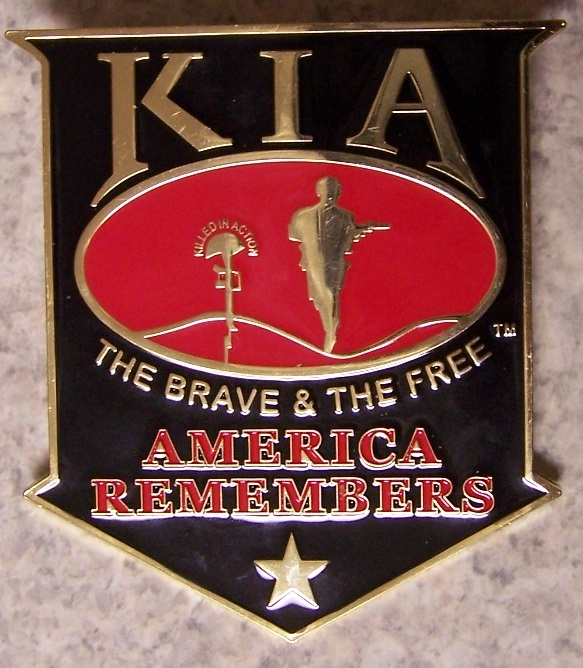 Killed in Action Car Grill Badge