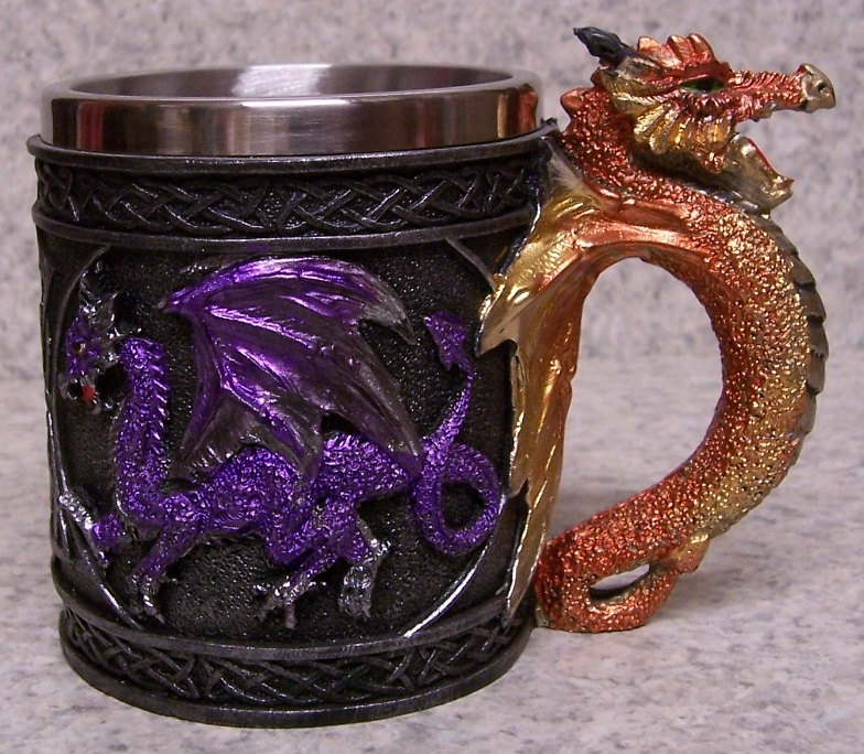 Multi Colored Dragons Beer Tankard or Coffee Mug 9 ounce pour thumbnail