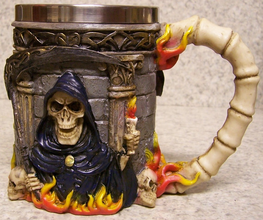 Grim Reaper Beer Tankard or Coffee Mug 12 ounce pour thumbnail