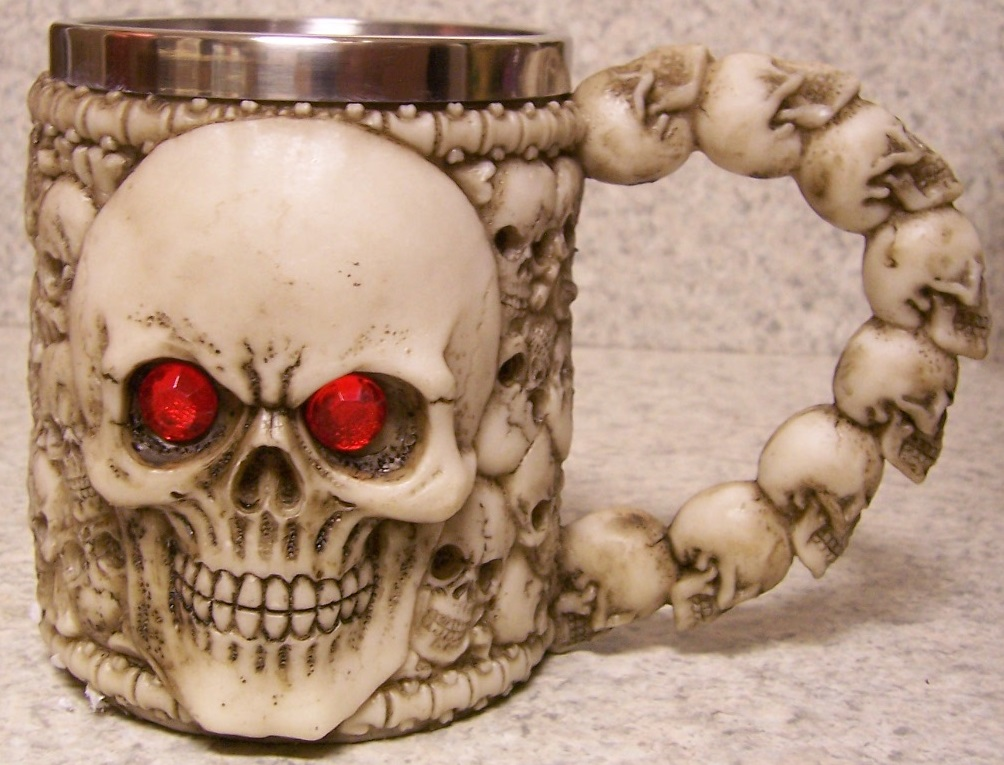 Red Eyed Skull Beer Tankard or Coffee Mug 12 ounce pour thumbnail