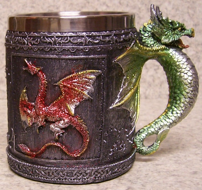Red Sparkle Dragon Beer Tankard or Coffee Mug 12 ounce pour thumbnail