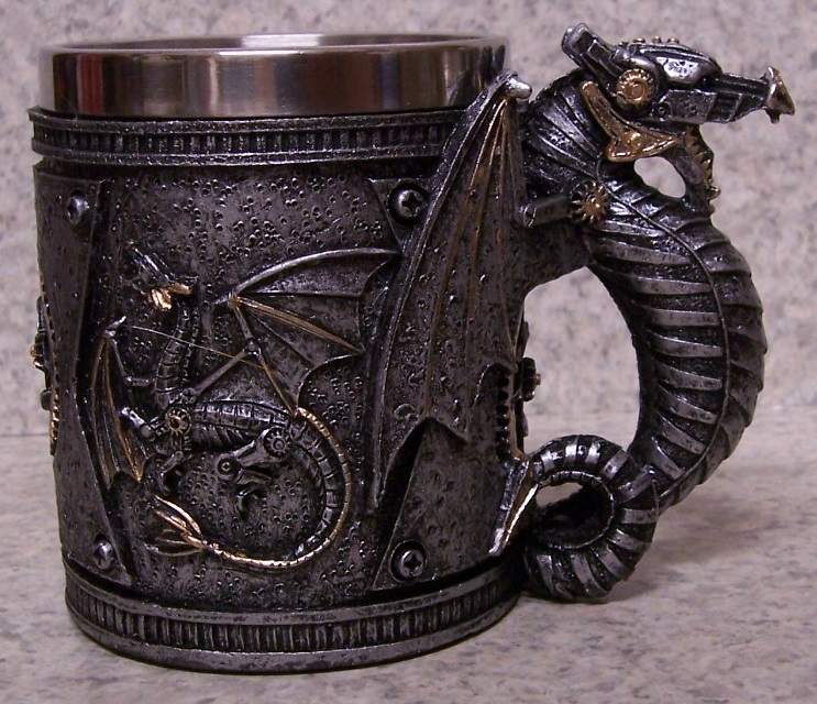 Pewter Colored Dragon Beer Tankard or Coffee Mug 12 ounce pour thumbnail