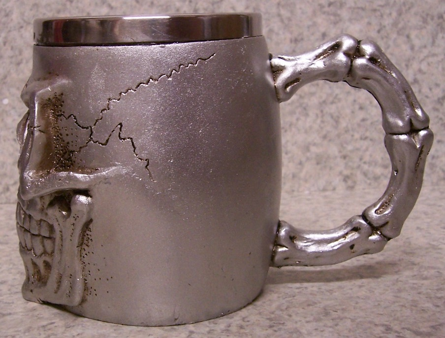 Silver Colored Skull Beer Tankard or Coffee Mug 12 ounce pour thumbnail