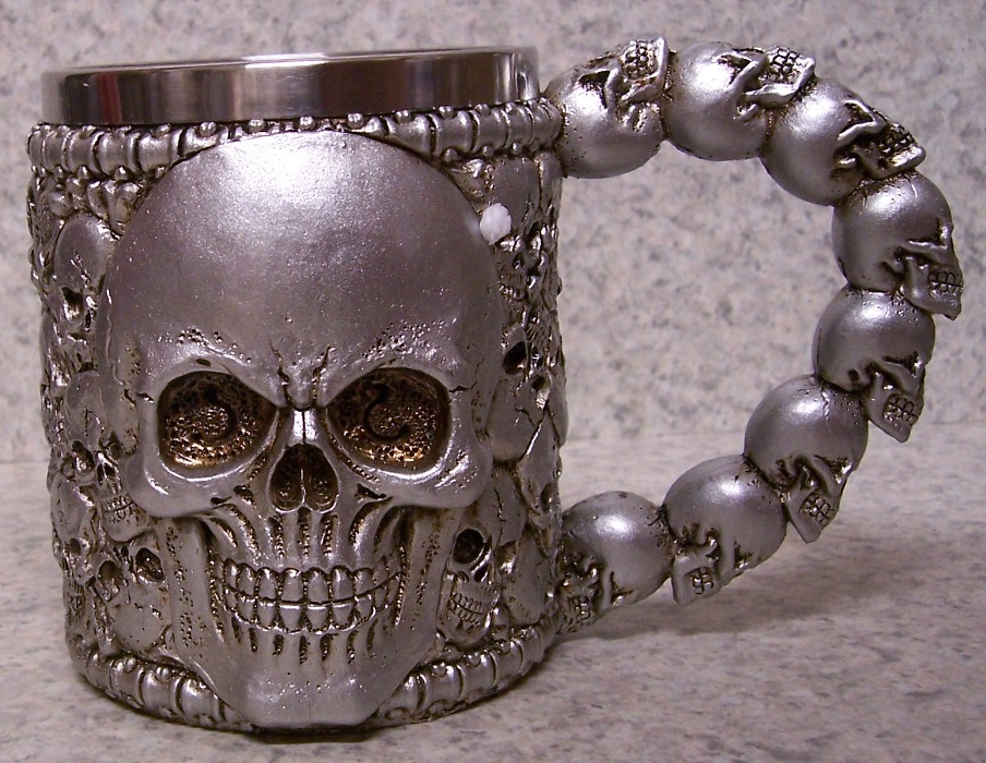 Silver Colored Multi Skulls Beer Tankard or Coffee Mug 12 ounce pour thumbnail