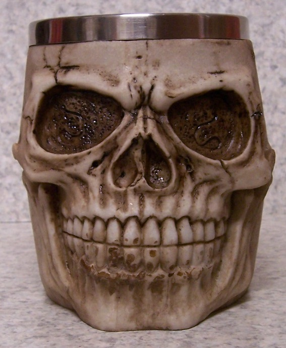 Bone Colored Skull Beer Tankard or Coffee Mug 12 ounce pour thumbnail