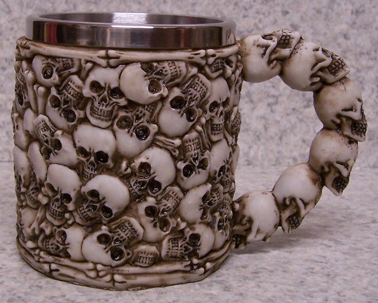 Multiple Skulls Beer Tankard or Coffee Mug 9 ounce pour thumbnail