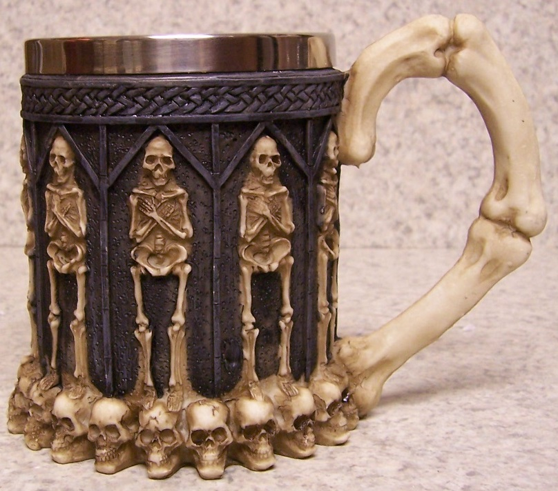 Standing Skeletons Beer Tankard or Coffee Mug 12 ounce pour thumbnail