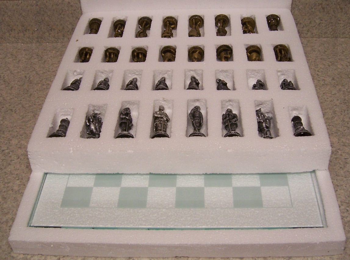 Chess Set With Glass Board Medieval Knights In Armor New 3