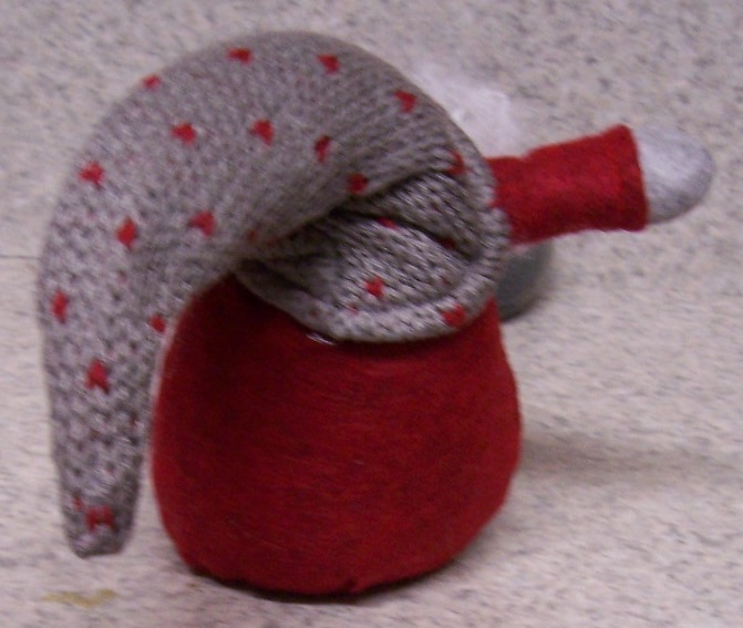 Cotton and Polyester Christmas Gnome Shelf or Fireplace Mantel Sitter 063A back view http://lionheart-designs.com/inventory.shtml
