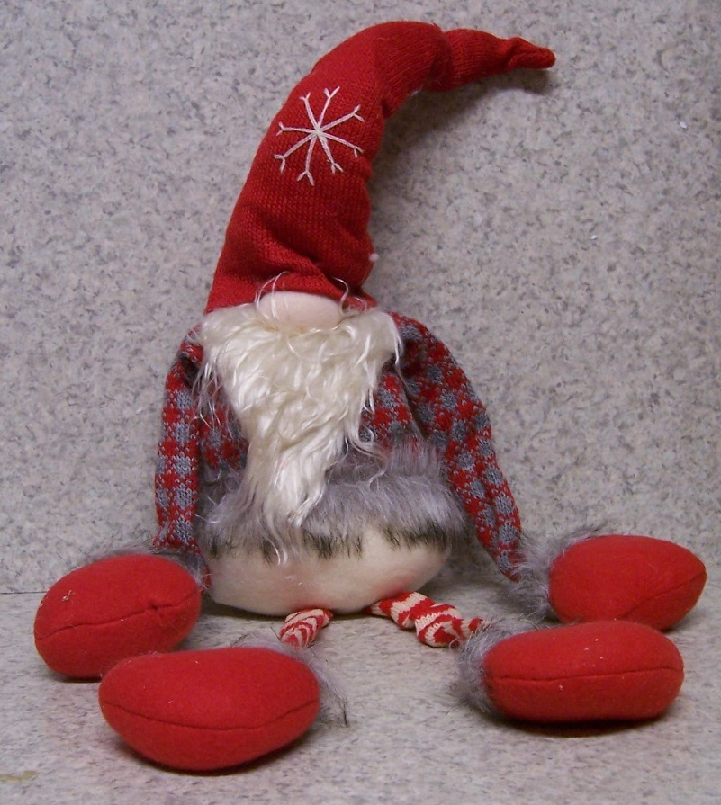 Polyester Christmas Gnome Shelf or Fireplace Mantel Hanger side view http://lionheart-designs.com/inventory.shtml