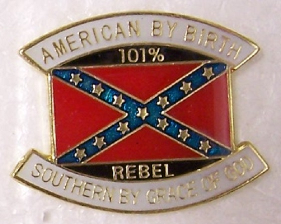 American by Birth Confederate States of America CSA metal hat or lapel pin thumbnail
