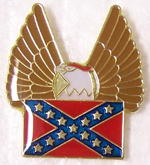 Flag and Eagle Confederate States of America CSA metal hat or lapel pin thumbnail