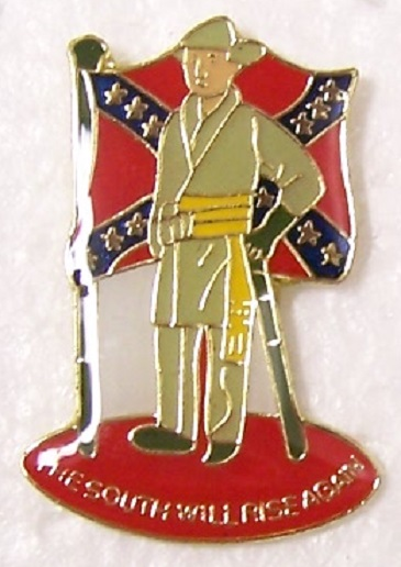 The South Will Rise Again Confederate States of America CSA metal hat or lapel pin thumbnail