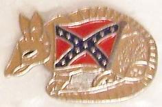 Rebel Armadillo Confederate States of America CSA metal hat or lapel pin thumbnail