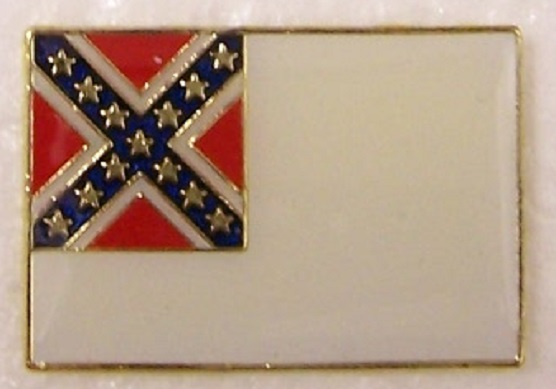 Second National Flag Confederate States of America CSA metal hat or lapel pin thumbnail