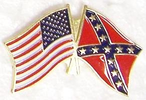 United States and Confederate States of America Flags crossed CSA metal hat or lapel pin thumbnail