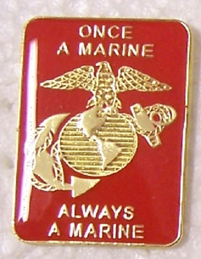 hat lapel push tie tac pin once a marine always a marine new