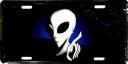 Area 51 Alien Pointing Aluminum License Plate thumbnail