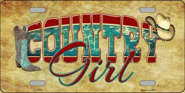 Country Girl Aluminum License Plate thumbnail