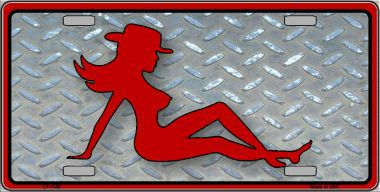Cowgirl Truck Flap Girl Aluminum License Plate thumbnail