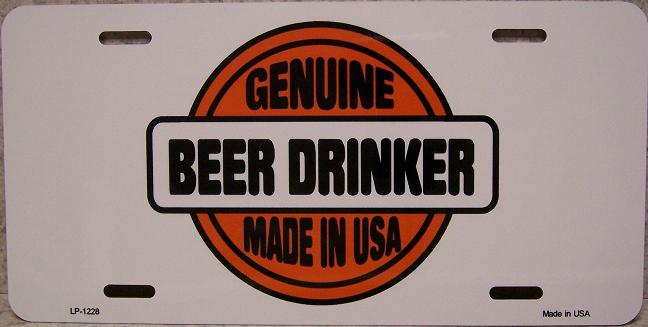 Genuine Beer Drinkers Aluminum License Plate America at Play thumbnail