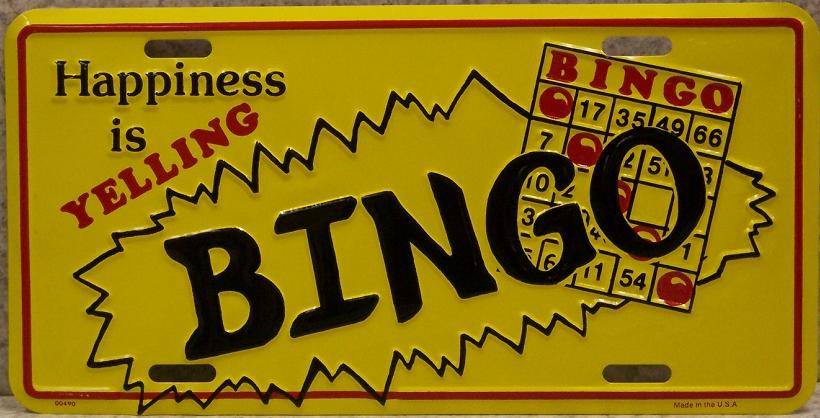 Happiness is Yelling Bingo Aluminum License Plate America at Play thumbnail