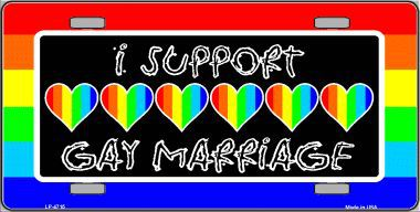 I Support Gay Marriage Aluminum License Plate thumbnail