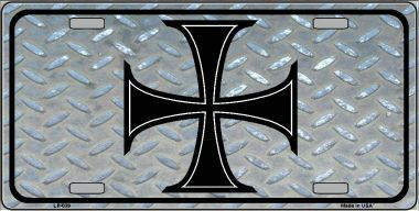 Maltese Cross Simulated Diamonplate Aluminum License Plate thumbnail