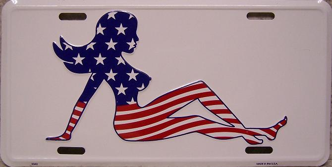 Patriotic Truck Flap Girl Aluminum License Plate thumbnail