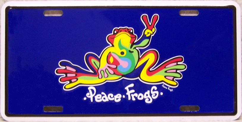 Peace Frogs Aluminum License Plate thumbnail