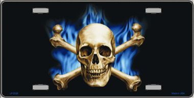 Skull Crossbones and Flames Aluminum License Plate thumbnail