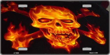 Flaming Skull and Crossbones Aluminum License Plate thumbnail