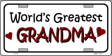 Worlds Greatest Grandma Aluminum License Plate thumbnail