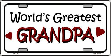 Worlds Greatest Grandps Aluminum License Plate thumbnail