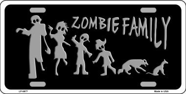 Zombie Family Aluminum License Plate thumbnail