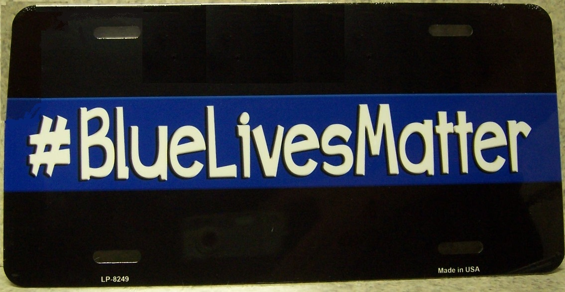 Blue Lives Matter Aluminum License Plate America at Work thumbnail