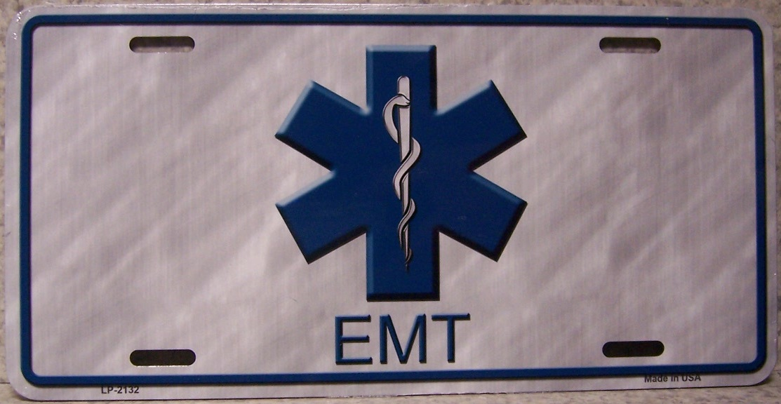 Emergency Medical Technician Caduceus Aluminum License Plate America at Work thumbnail