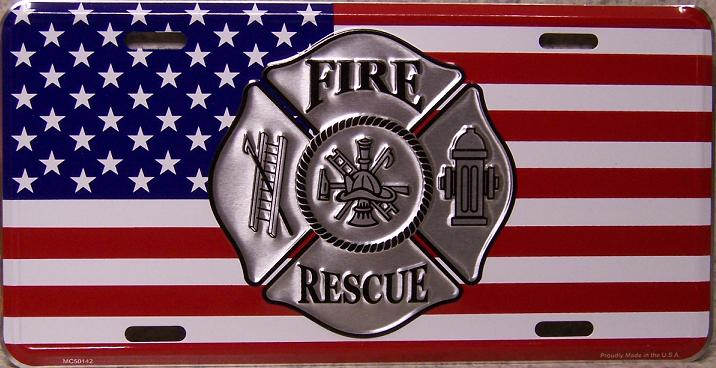 Fire Rescue Flag Aluminum License Plate America at Work thumbnail
