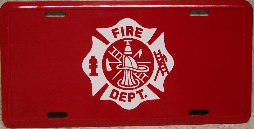 Fire Department Logo Aluminum License Plate America at Work thumbnail