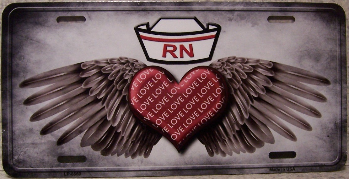 Registered Nurse Love Aluminum License Plate America at Work thumbnail