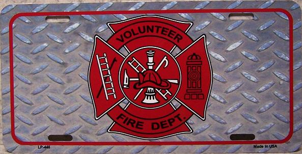 Volunteer Fire Department Aluminum License Plate America at Work thumbnail