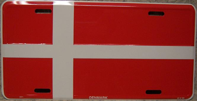 Denmark Aluminum License Plate International Flag thumbnail