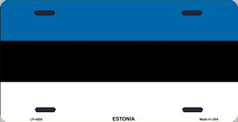 Estonia Aluminum License Plate International Flag thumbnail