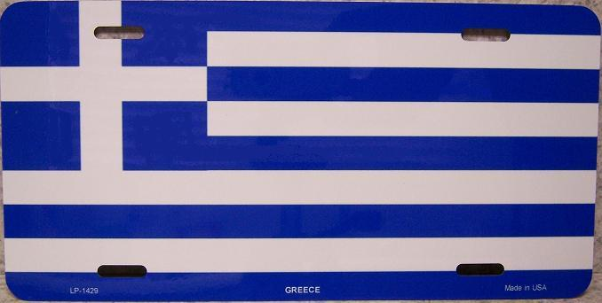 Greece Aluminum License Plate International Flag thumbnail