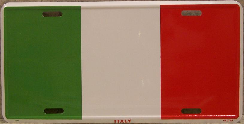 Italy Aluminum License Plate International Flag thumbnail
