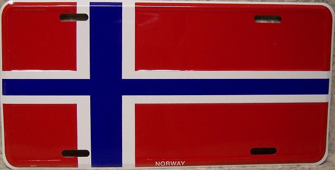 Norway Aluminum License Plate International Flag thumbnail