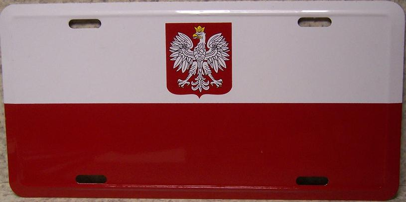 Poland Aluminum License Plate International Flag thumbnail