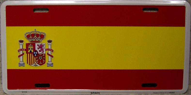 Spain Aluminum License Plate International Flag thumbnail